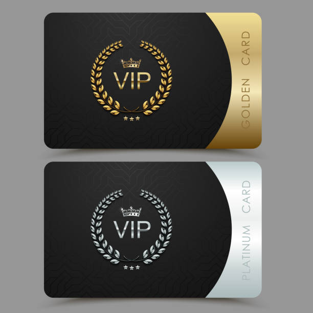 Vector VIP golden and platinum card. Black geometric pattern background with crown laurel wreath. Luxury design for vip member Vector VIP golden and platinum card. Black geometric pattern background with crown laurel wreath. Luxury design for vip member. celebrities stock illustrations