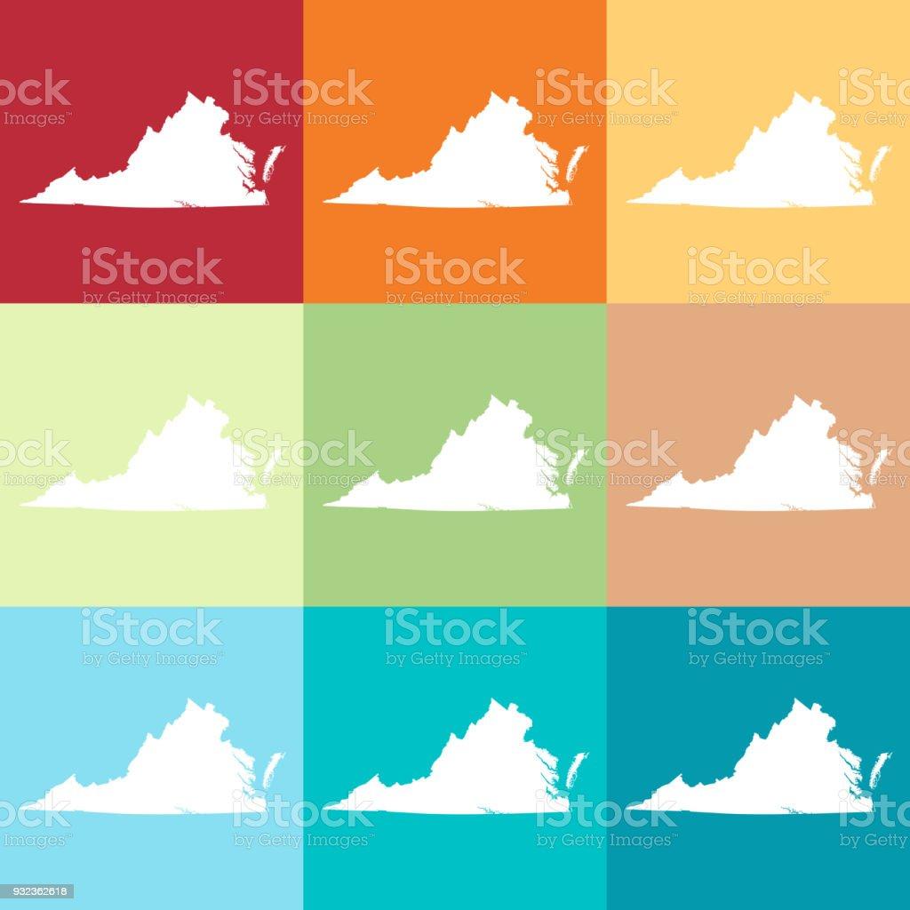 Vector Virginia Usa Map In Beachy Colors Stock Vector Art & More ...