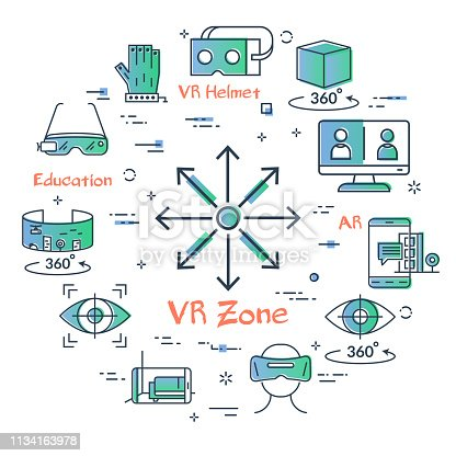 Vector concept of virtual reality diving. Linear icon of VR zone - arrows in all directions in center. Innovations technology in outline colored style. Helmet for VR and other entertainment icons