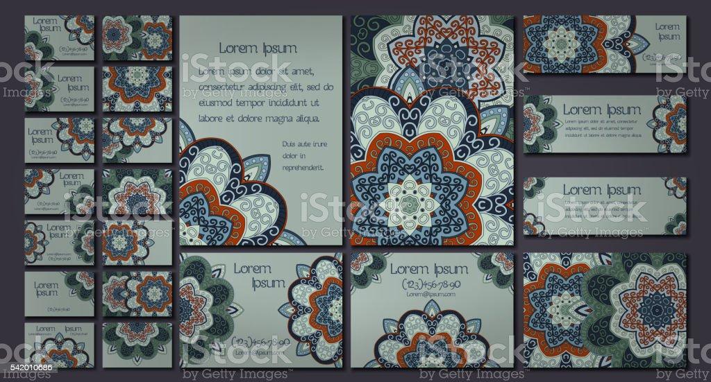 Vecteur De Carte Visite Ensemble Motif Mandala Fleurs Et Ornements Oriental