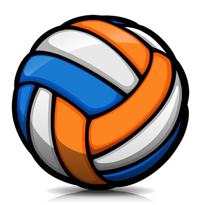 Vector volleyball ball cartoon isolated