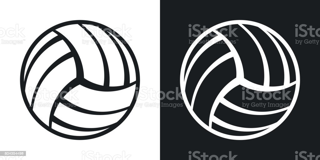 Vector volleyball ball icon. Two-tone version vector art illustration