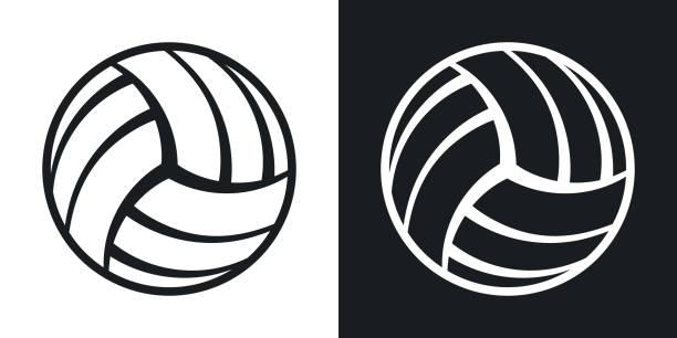 Icono de bola de voleibol de vector. Versión de dos tonos - ilustración de arte vectorial