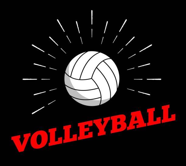 illustrations, cliparts, dessins animés et icônes de vecteur volley-ball sport ball icône soleil burtst impression dessinés à la main la ligne vintage art création de logo - volley ball