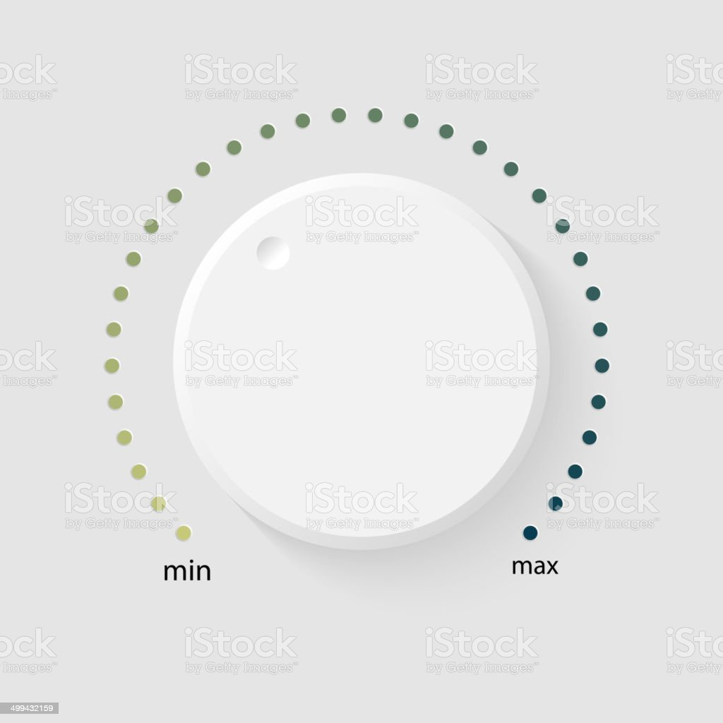 Vector volume music control Vector volume music control with a scale from low to high, volume knob, for websites Amplifier stock vector