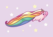 vector volume rainbow unicorn, magic nursery art