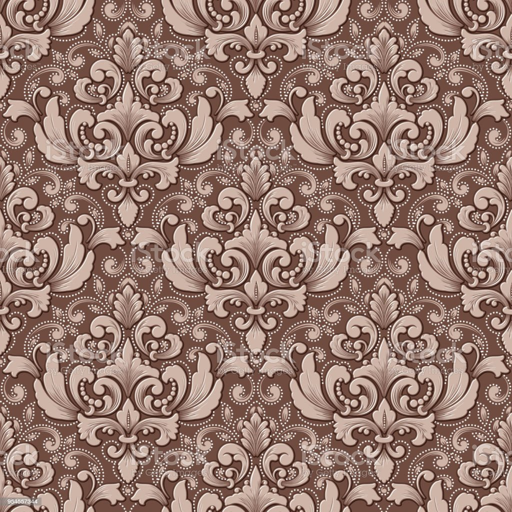Vector Volumetric Damask Seamless Pattern Background Elegant Luxury Embossed Texture For Wallpapers Backgrounds And Page Fill 3d Elements With Shadows