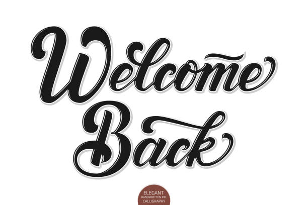 Vector volumetric Welcome back elegant modern handwritten calligraphy. Vector Ink illustration. Isolated on white background with shadows and highlights. For cards, invitations, prints etc. Vector volumetric Welcome back elegant modern handwritten calligraphy. Vector Ink illustration. Isolated on white background with shadows and highlights. For cards, invitations, prints etc back stock illustrations