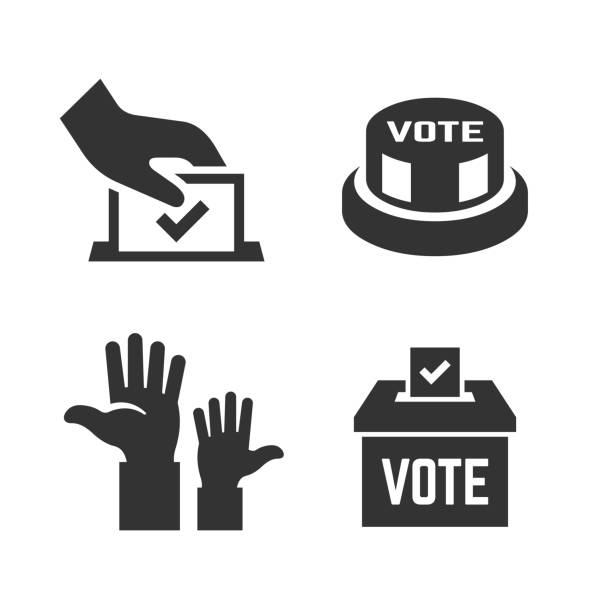 Vector vote icon with voter hand, ballot box, click button, voting hands. Democracy election poll silhouette symbol. Vector vote icon with voter hand, ballot box, click button, voting hands. Democracy election poll silhouette symbol. voting stock illustrations