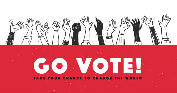 stockillustraties, clipart, cartoons en iconen met vector stem illustratie met handen verhoogd geïsoleerd op witte achtergrond. - vote