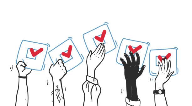 ilustraciones, imágenes clip art, dibujos animados e iconos de stock de ilustración de voto vectorial con manos arriba con boletín de votación aislado sobre fondo blanco. - polling place