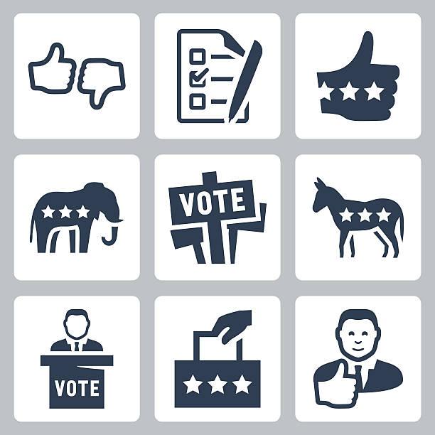 векторные иконки набор голосования и политика - presidential debate stock illustrations