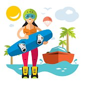 Vector Wakeboarding Woman. Flat style colorful Cartoon illustration.