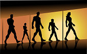 A silhouette style illustration of a team of superheroes walking with large window in the background.