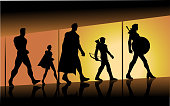 A silhouette style illustration of a team of superheroes walking in a hall with big window in the background. Wide space available for your copy.