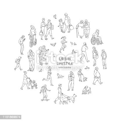 Vector walking urban crowd. Children and adults people pigeons and other characters in a circle line art style black white illustration background
