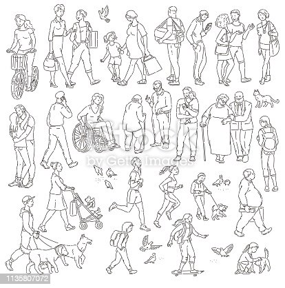Vector walking urban crowd on street in city. Children and adults in various situations. Woman with kids people with dogs pigeons bicyclist and other characters black white line art