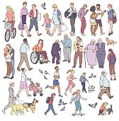 Vector walking urban crowd on street in city. Woman with kids people with dogs pigeons bicyclist and other characters line art. Children and adults in various situations