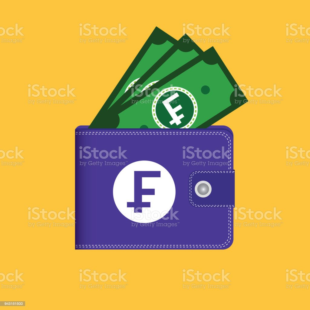 Vector Wallet and Money Franc Icon vector art illustration