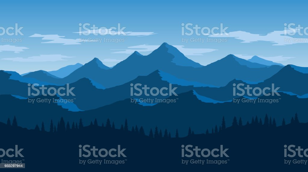 Vector Wallpaper With A Landscape A Mountain Range Stock Illustration Download Image Now
