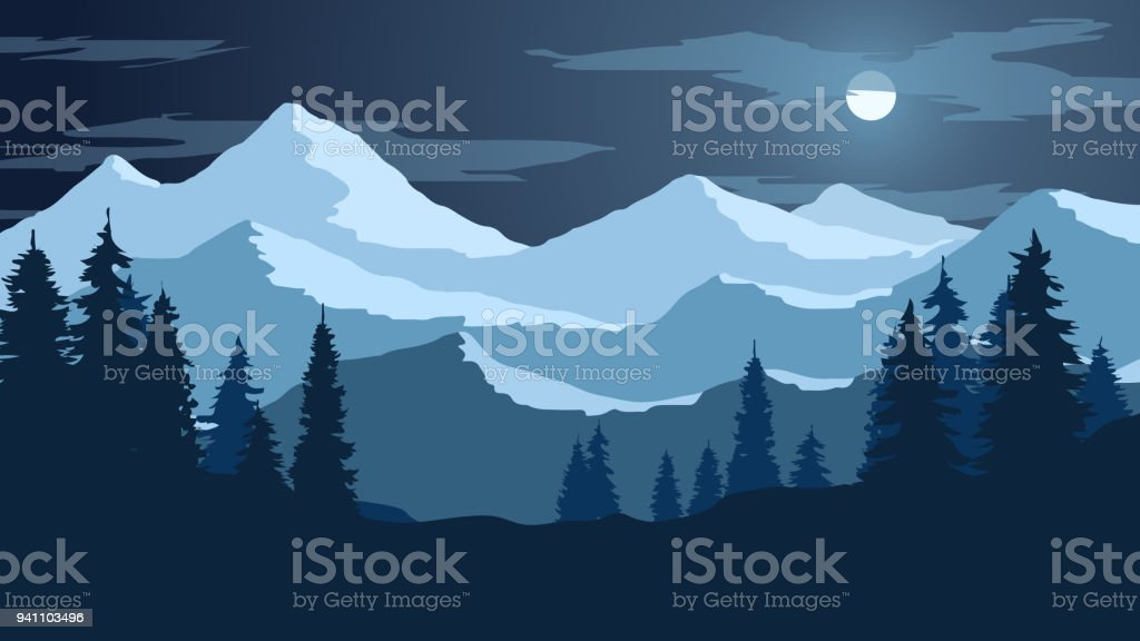 Vector Wallpaper With A Night Landscape A Mountain Range Stock