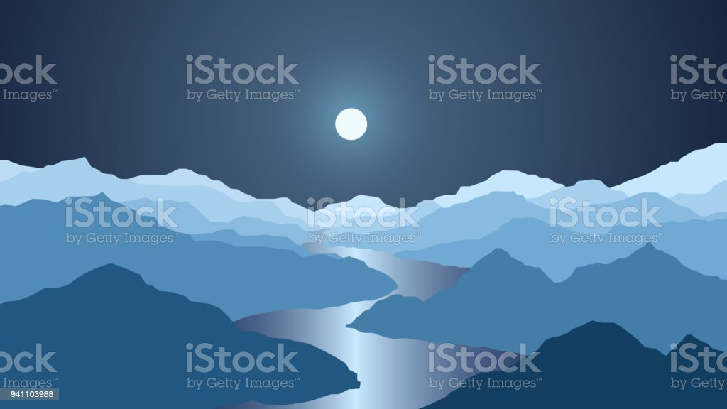 Vector Wallpaper With A Night Landscape Mountains And River Stock