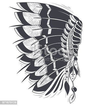 Vector illustration of war bonnet, native traditional headdress of american indians with eagle feathers, isolated on background. Hand drawn black and white artwork, tattoo art, print for t-shirt