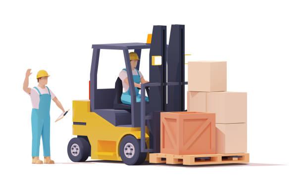 Vector warehouse forklift moving loaded pallet vector art illustration