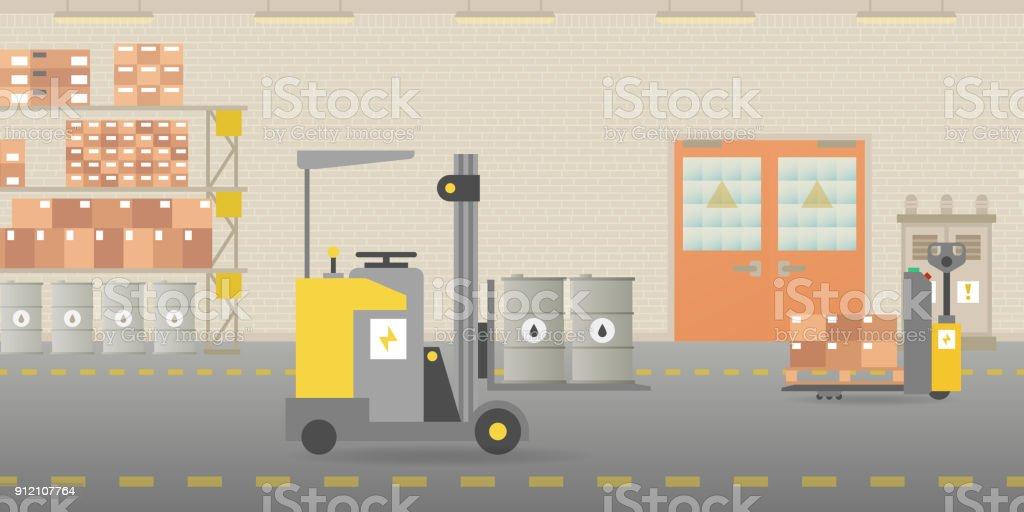 Vector warehouse hangar interior empty scene in flat style vector art illustration
