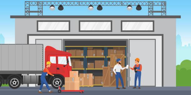 stockillustraties, clipart, cartoons en iconen met vector magazijn werknemers zijn het regelen van goederen op de planken. magazijn buitenkant gebouw maken lading vrachtwagen. - warenhuismedewerker