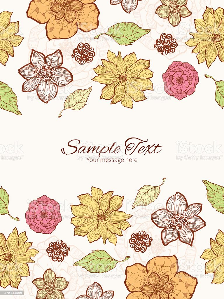 Vector Warm Fall Lineart Flowers Vertical Double Borders Frame Invitation Royalty Free Stock Art
