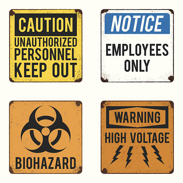vector warning and safety signs collection vector warning and safety signs collection high voltage sign stock illustrations