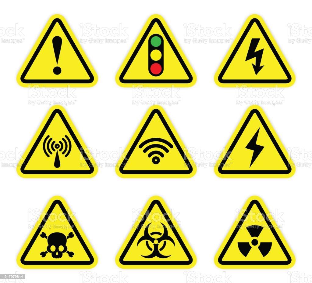 ベクトル警告信号のシンボル、放射線署名セット ベクターアートイラスト