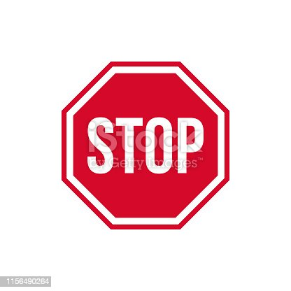 Vector warning stop sign icon. Caution Stop sign sticker in red rhombus and text stop. Stop sign sticker illustration in flat minimalism style.