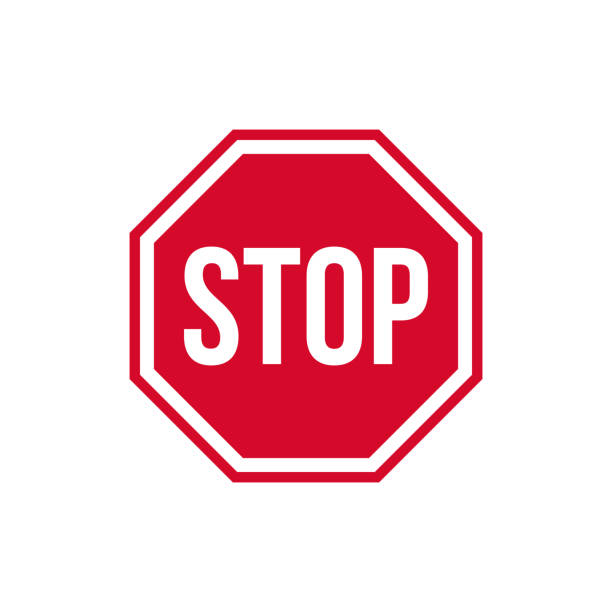 Vector warning stop sign icon. Caution Stop sign sticker in red rhombus and text stop. Stop sign sticker illustration in flat minimalism style. Vector warning stop sign icon. Caution Stop sign sticker in red rhombus and text stop. Stop sign sticker illustration in flat minimalism style. stop stock illustrations