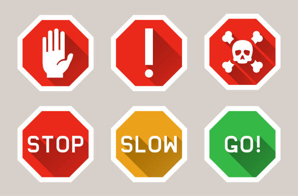 Vector warning, stop signs icons in flat style with shadow Vector warning, stop signs icons in flat style with shadow stop stock illustrations