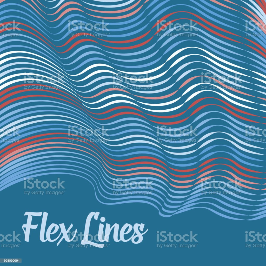 Vector warped lines background. Flexible stripes twisted as silk forming volumetric folds. Colorful stripes with variable width. Modern abstract creative backdrop. vector art illustration