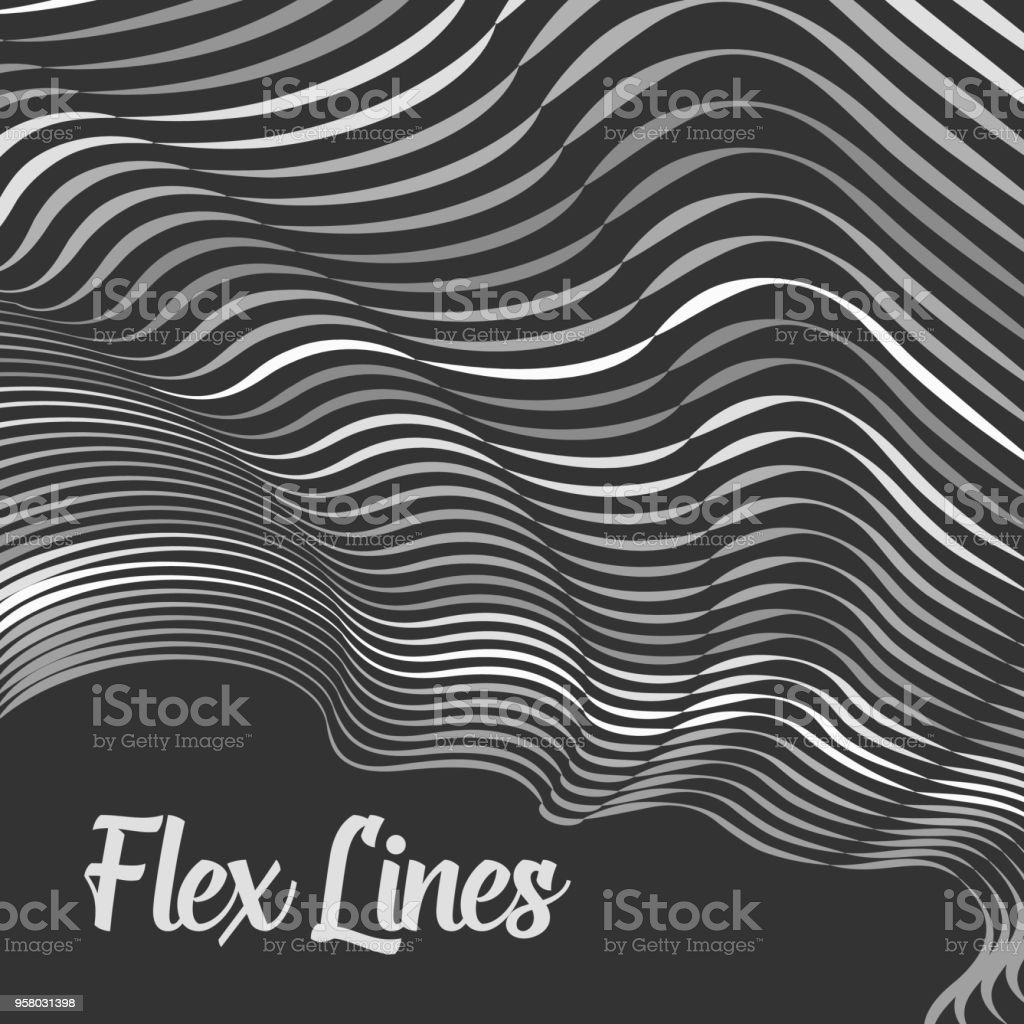 Vector warped lines background. Flexible stripes twisted as silk forming volumetric folds. Grayscale stripes with variable width. Modern abstract creative backdrop. vector art illustration