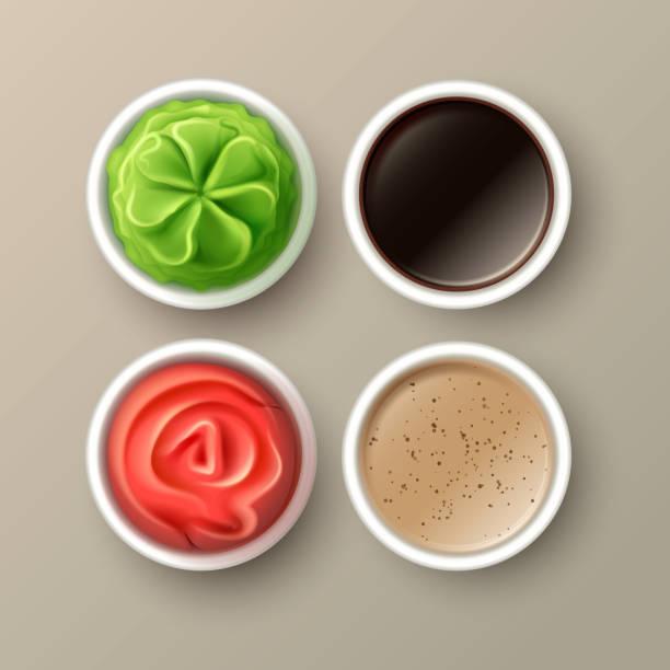 ベクターわさび、ピンク、生姜、醤油、タヒニのソース背景に分離されたトップビューを閉じる - わさび点のイラスト素材/クリップアート素材/マンガ素材/アイコン素材