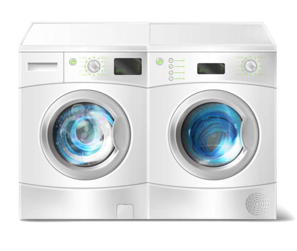 vektor-waschmaschine und trockner mit wäsche in - waschmaschine stock-grafiken, -clipart, -cartoons und -symbole