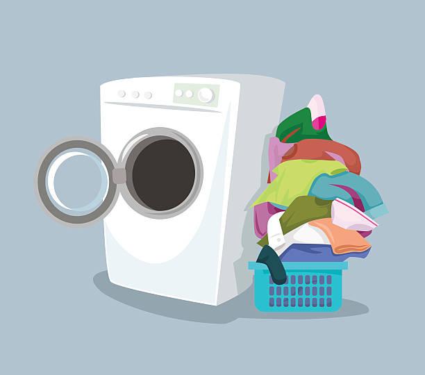 vector washing machine. flat cartoon illustration - washing machine stock illustrations, clip art, cartoons, & icons