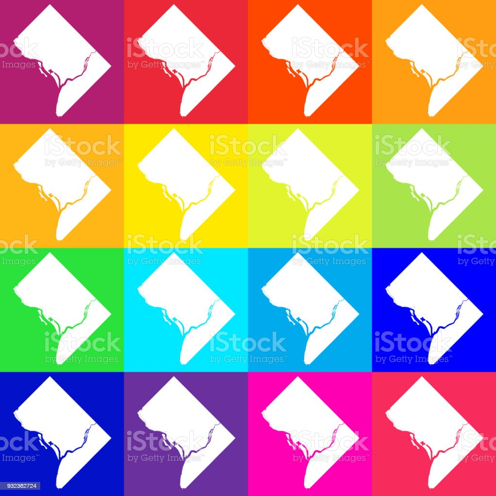 Vector Washington Dc Usa Map In Bright Colors Stock ...
