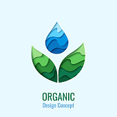 Organic Product - vector abstract background with paper cut water drop and green leaves. Ecology concept symbol. Creative icon design