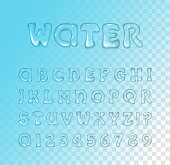 Vector water / gel font on blue transparent background. Typeface. Glossy letters