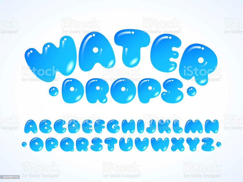 Alphabet de vecteur eau grpos. Lettres de A à Z - Illustration vectorielle