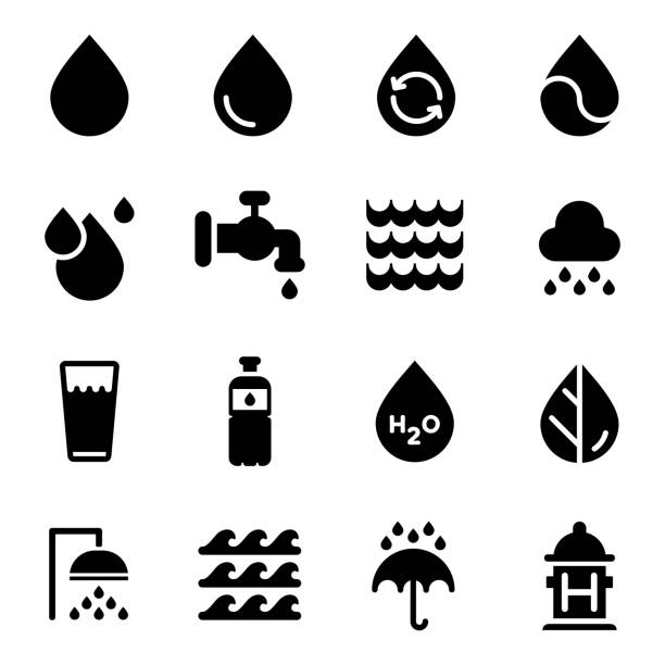 beyaz arka plan üzerinde vektör su icons set - tap water stock illustrations