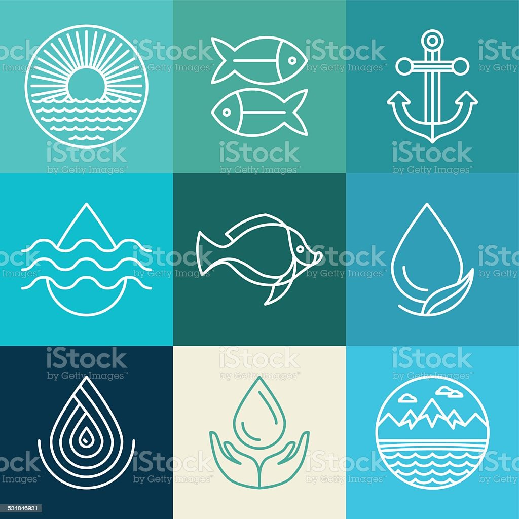 Vector water line icons and logos vector art illustration