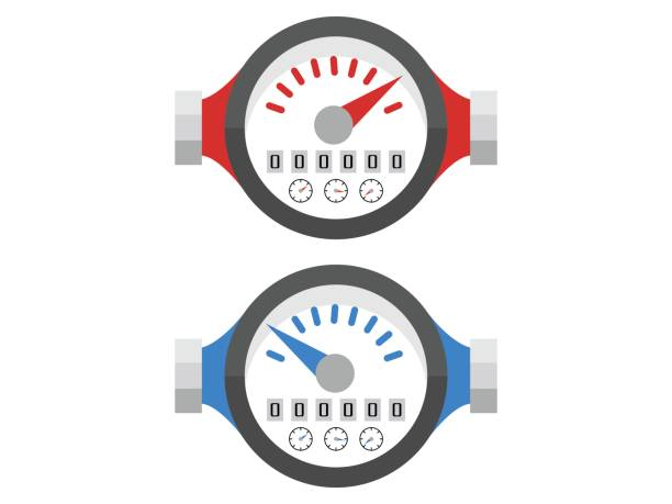 vector water meters hot and cold flat icons - tap water stock illustrations