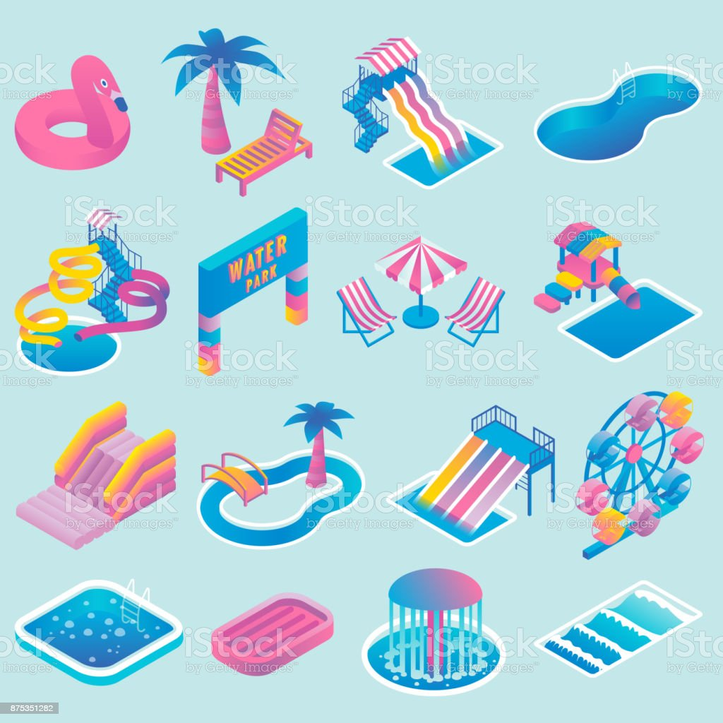 Vector water park flat isometric icon set vector art illustration