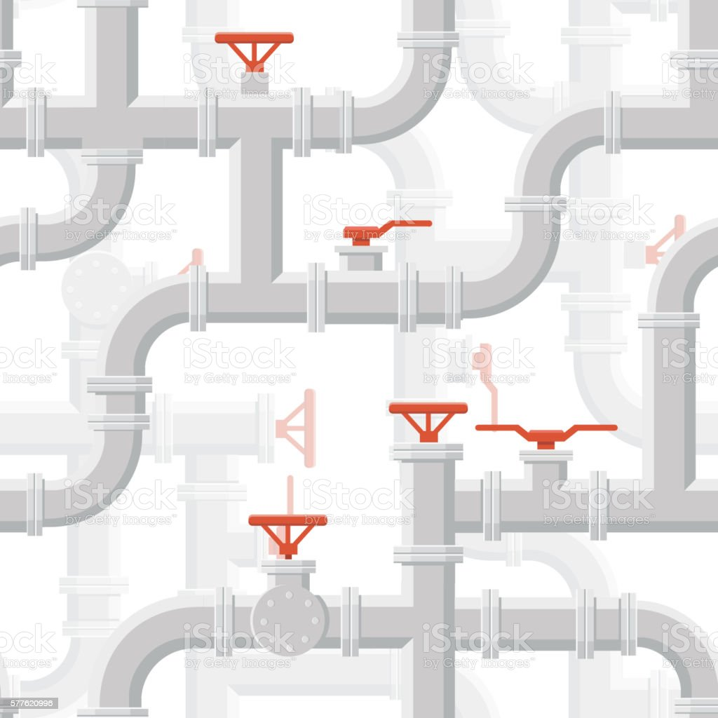 Vector Water Piping System Seamless pattern grey color on background. vector art illustration